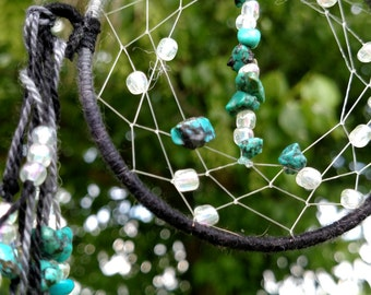 Dream Catcher 3 inch Turquoise and clear glass beads