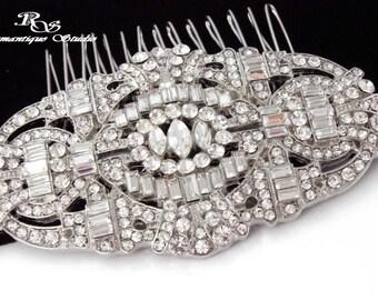 Art Deco bridal hair comb, Rhinestone wedding hair comb, Vintage style hair accessory, Bridal headpiece, Wedding hair piece - 5166