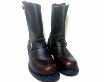 vintage dark brown leather engineer boots,  Size : EU 42 / US men's 8 1/2, women's 10 / UK men's 8, women's 7 1/2