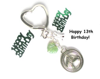 13th birthday gift - Horse keychain - Personalised keyring - Horseriding gift - 13th gift for sister, friend, daughter - 13th keychain - UK