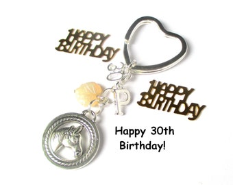 30th birthday gift - Horse keychain - Personalised keyring - Horseriding gift - 30th gift for sister, friend, daughter - 30th keychain - UK
