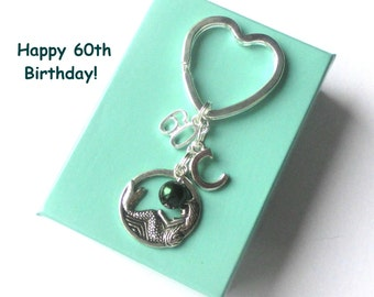 Personalised 60th birthday keyring - Mermaid keychain - 60th gift - Mermaid keyring - Gift for Nana, Mum, Sister, Aunt - 60th keychain - UK