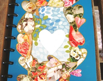 journal with hand-crafted cover: Hearts in Time collage with space for name