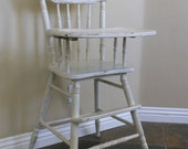 Vintage Solid Wood Baby High Chair by Oak Hill