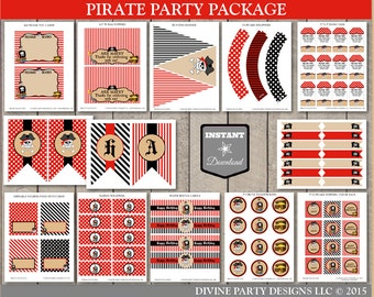 INSTANT DOWNLOAD Printable Pirate Birthday Party Package / 12 Items / Boy's Birthday Party / Pirate Collection/ Item #800
