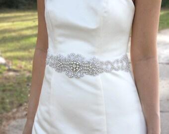 VENETIA - Vintage Inspired Wedding Crystal Rhinestone Sash, Bridal Beaded Belt, Bridal Rhinestone Sash, Wedding Pearl Belts