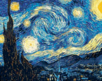 Vincent Van Gogh Starry Night Counted Cross Stitch Pattern | Instant PDF Download