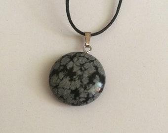 Snowflake Obsidian Circle Choker Necklace