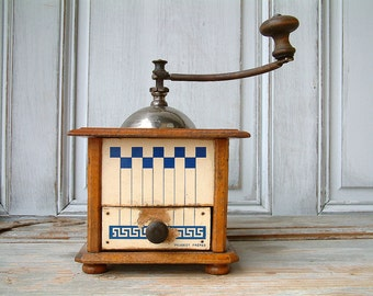 French vintage PEUGEOT FRERES manual coffee grinder wood with blue check pattern. Shabby chic. French country.