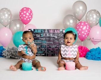 Twins First Birthday Chalkboard First Birthday Poster Chalkboard Poster // Twin Birthday // Boy/Girl / Boy/Boy / Girl/Girl ANY COLORS