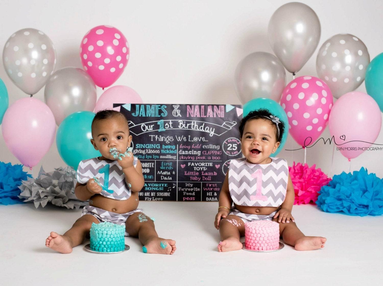 Twins First Birthday Chalkboard First Birthday Poster