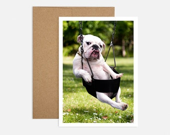 Bulldog Swing Birthday Greeting Card