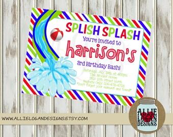 Boy's Pool Party or Water Slide Invitations - DIY Printable PDF and JPEG or printed
