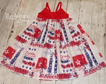 Patriotic Hummingbird, Hummingbird Dress, Racerback Dress - READY TO SHIP - Size 4