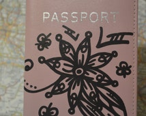 Hand Painted Leather Passport Cover | ART TO WEAR Collection by Miami Artist Holly A. Jones