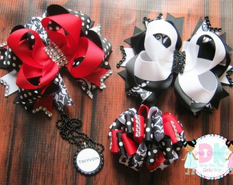 Red and Black Uniform Bows! Make Your Own Uniform Combination! Great For Back To School!