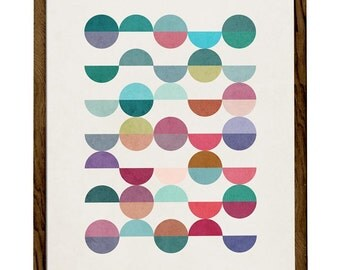 Equal Parts 1. Geometric print Retro wall art geometric art print Mid century geometric art multi colored spheres print mid century art