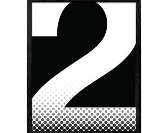 Number 2 print Number wall art typography print Scandinavian print typography poster Letter print Number 2 poster Minimalist poster