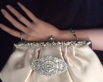 Champagne Satin Clutch, Evening Bag, Bridal Purse, Bridal Clutch Bag, Ivory Clutch,  Prom Bag