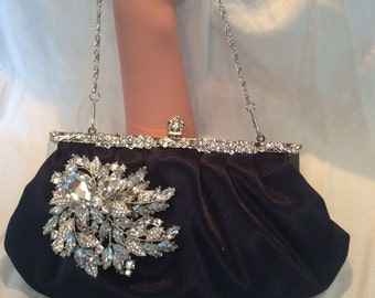 Navy Blue Satin Clutch, Evening Bag, Bridal Purse, Bridal Clutch Bag, Custom Clutch,  Prom Bag