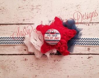 My First July 4th Headband..Red,White, and Blue Star Headband Set..Newborn, Baby, Girls Photo Prop