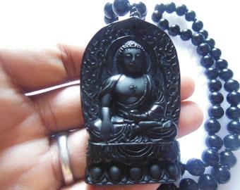 Free Delivery Scrub Zhong Kui natural black obsidian patron saint pendant necklace