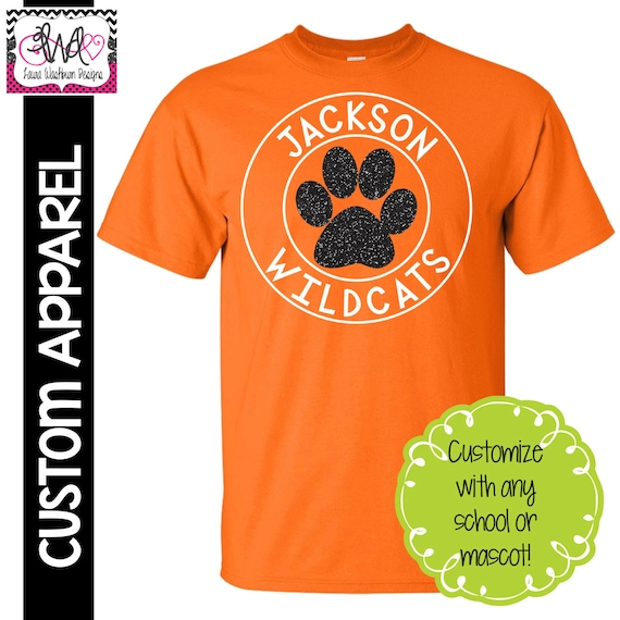 custom apparel custom school spirit t shirt with glitter