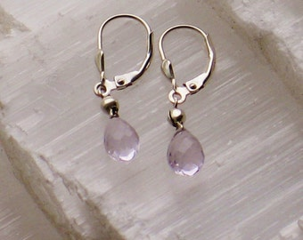 AB1- Briolette earrings with natural amethysts,