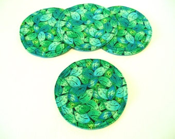 Teal Fabric Coasters Turquoise Leaf Print Quilted Set of 4