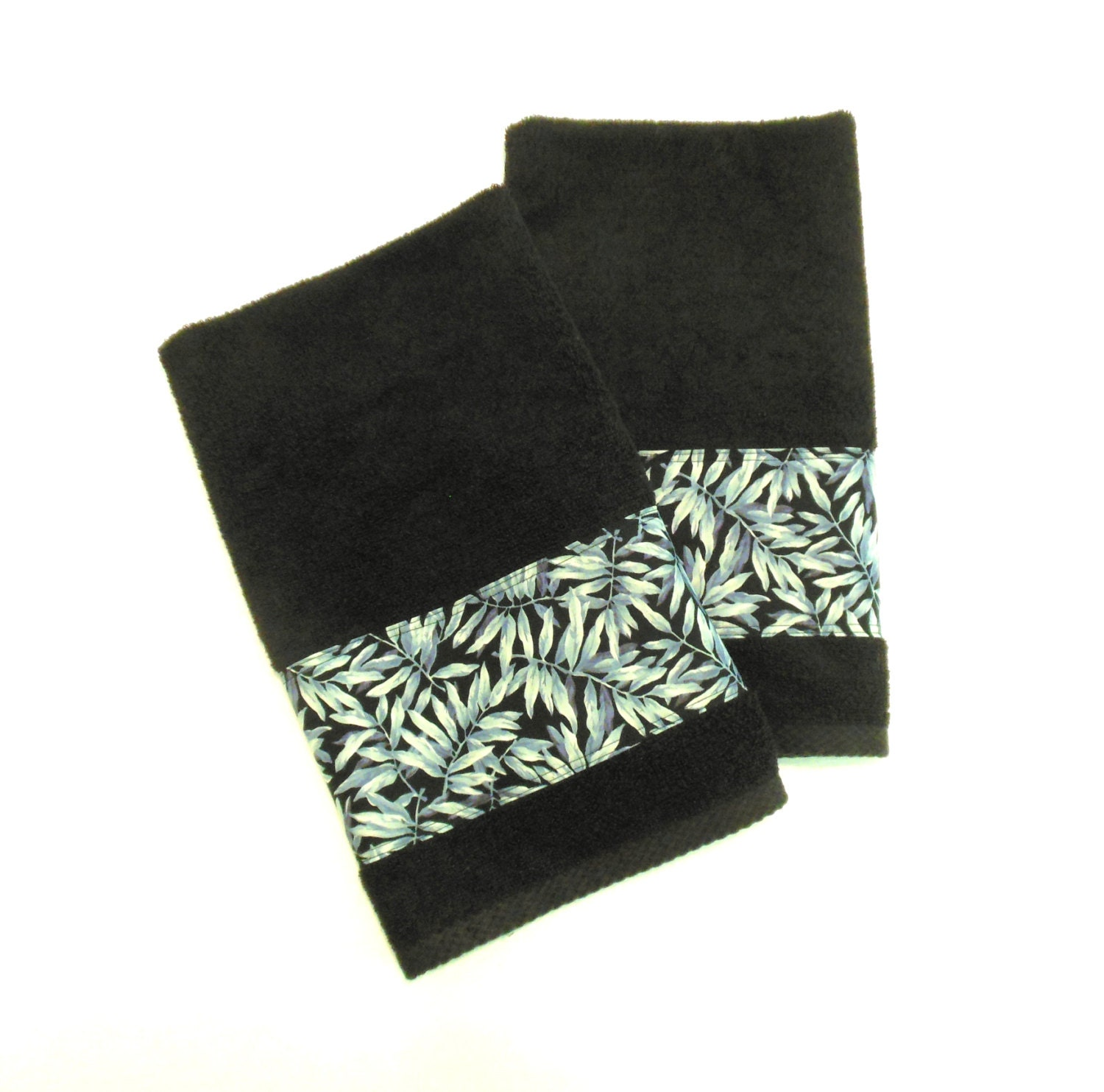 Black ferns hand towels decorative hand towels bathroom for Bathroom decorative towels