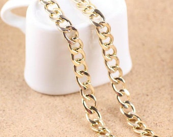 DIY jewelry 2 meters  Antiqued gold  round cable chain 9x13mm