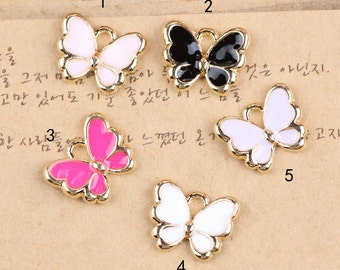 10 pcs of antique gold multicolour butterfly charm pendants 10x13mm