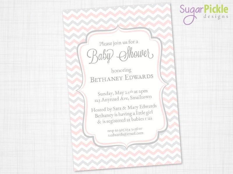baby shower invitations pink grey chevron invitations baby