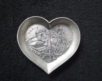 pewter paris heart tray