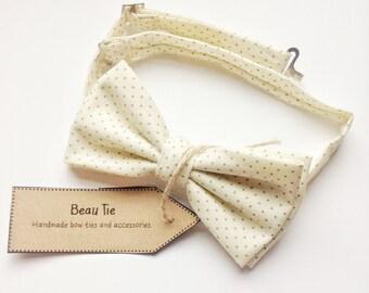 ivory bow tie, wedding bow tie, grooms bow tie, mens bow tie, polka dot bow tie