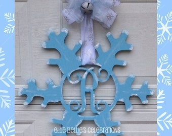 Monogram Winter Snowflake Door Hanger Sign