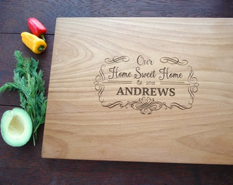 Home Sweet Home Personalized Cutting Board Wedding Present House Warming Gift Realtor Agent Mortgage Closing Gift  Bridal Shower Present