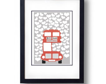 Personalised red bus print A2 100 hearts