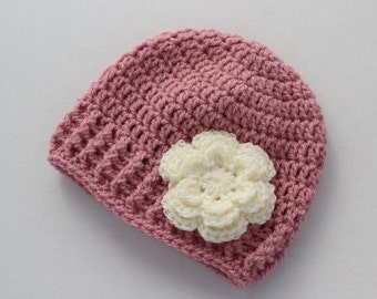 Crochet baby hat, baby girl hat, rose pink and cream, girl winter hat, infant hat, crochet beanie, baby beanie - MADE TO ORDER