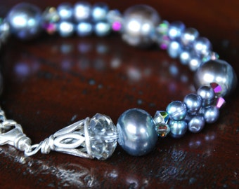 SALE  Gray Pearl Two strand bracelet
