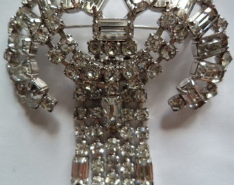 Vintage Stunning Large Articulated Baguette Cut Diamante Brooch/Pin