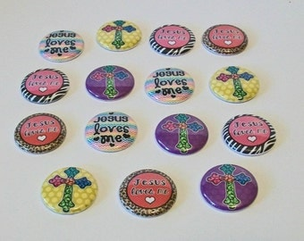 Colorful Jesus Loves Me Crosses Set of 15 1 Inch Flat Back Embellishments Buttons Flair