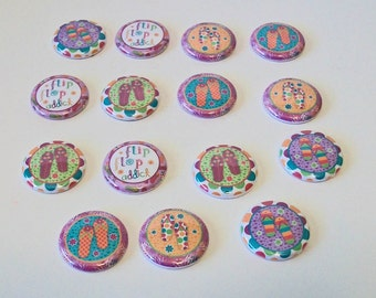 Colorful Fun Summer Flip Flop Addict Set of 15 1 Inch Flat Back Embellishments Buttons Flair