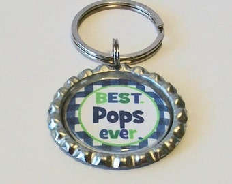 Blue and Green Check Best Pops Ever Grandfather Metal Flattened Bottlecap Keychain Great Gift