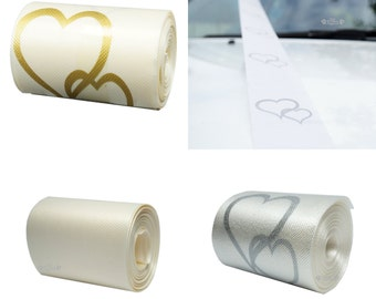 White Silver Heart or Ivory with Gold Hearts Wedding Car Ribbon, 5cm x 6m, FREE POSTAGE Australia Wide