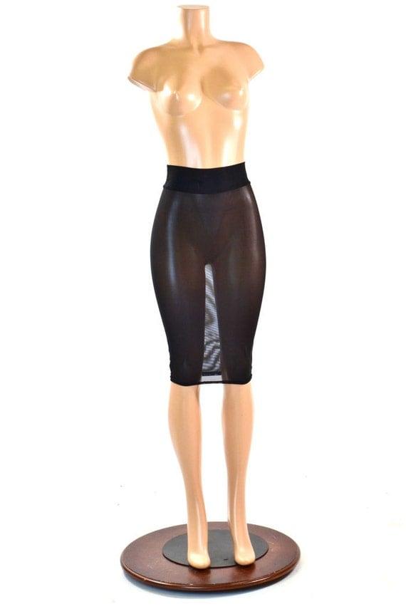 Sheer Stretch Mesh See Through Bodycon Pencil Skirt 27