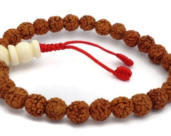 Rudraksha Seed Beads Stretch Wrist Mala Bracelet for Meditation and Yoga