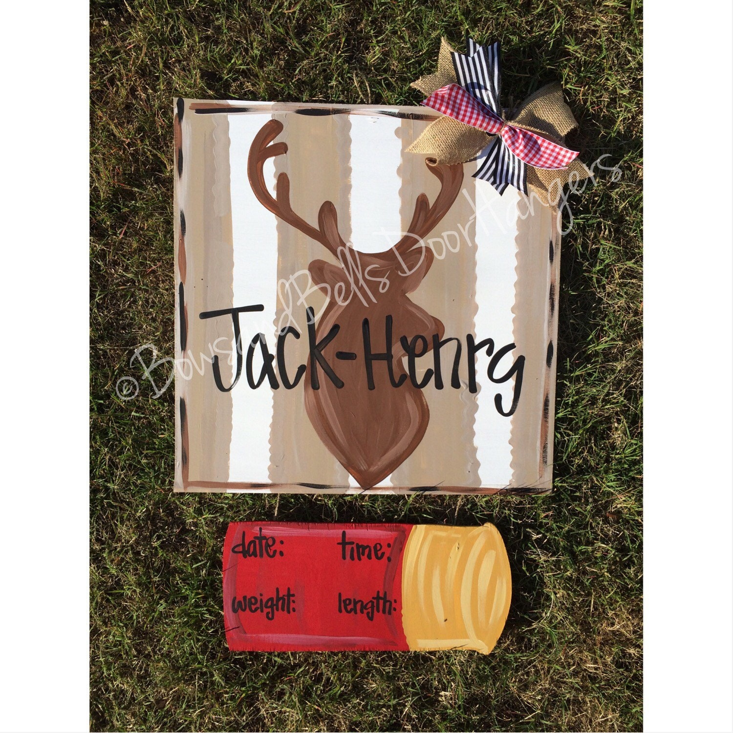 Deer hospital door hanger hunting door hanger deer door for Baby boy door decoration