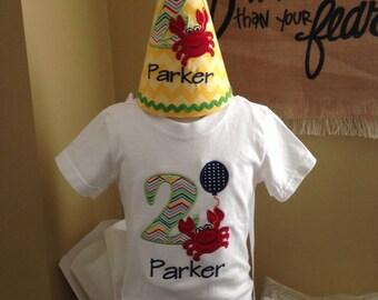 12m Crab appliquéd 2nd birthday shirt with matchinng birthday hat READY TO SHIP!