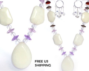 Crystal&Quartz Long Statement Necklace and Earrings Set
